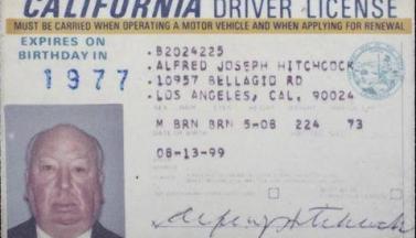 Водительское удостоверение гражданина Альфреда Хичкока