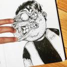 Художник дерется с собственным рисунком!
