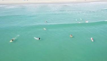 Дрон заснял, как серфингист упал НА акулу во Флориде (ВИДЕО)