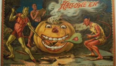 Винтажная открытка на Хэллоуин